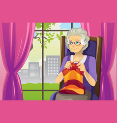 Knitting senior woman vector