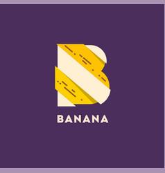 Letter b like banana cut pieces b monogram vector