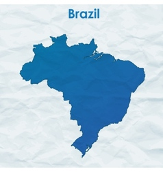 Map of Brazil Silhouette on crumpled paper vector