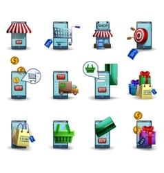 Mobile commerce m-commerce 3d icons set vector