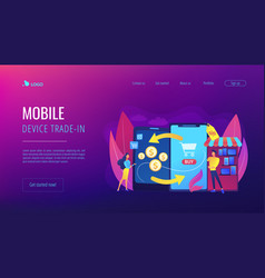 Mobile device trade-in concept landing page vector