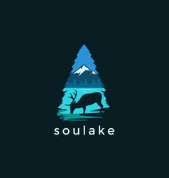 Modern deer and lake landscape logo vector