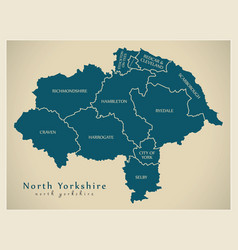 Modern map - north yorkshire county with district vector