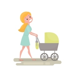Mom pushing her baby in a stroller Young woman vector