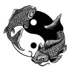Monochromatic yin yang koi fish vector