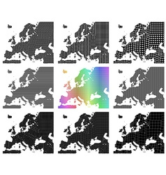 Mosaic Europe map set vector