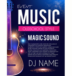 music concert toster template with guitar and vector image