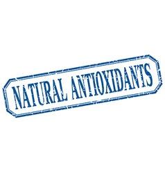 Natural antioxidants square blue grunge vintage vector