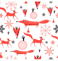 new years pattern red foxes vector image