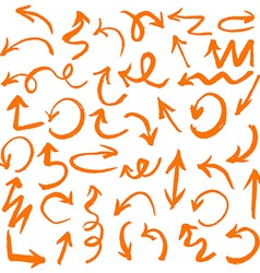 Orange Hand Drawn Arrows Set vector