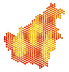 Orange hexagon borneo island map vector