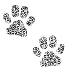 Paw footprints collage of dollar vector