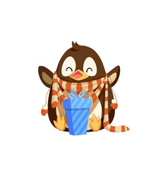 penguin in scarf with mittens and christmas gift vector image
