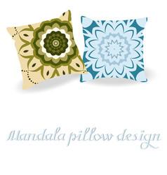 Pillows decorated by mandala vector