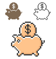 pixel icon piggy bank in three variants fully vector image