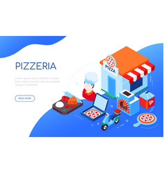 pizzeria and delivery - modern colorful isometric vector image