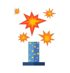 Pyrotechnics and fireworks icon vector image