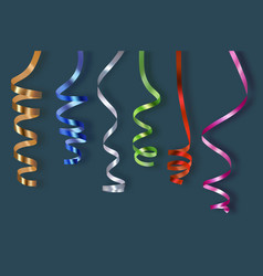 realistic confetti party colored ribbons vector image