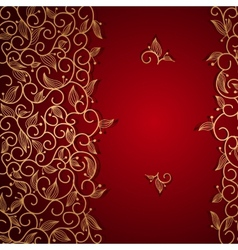 Red invitation with gold lace floral ornament vector image