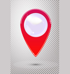 Red map pointer with blank center isolated on vector
