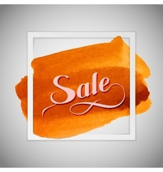 Sale label on the orange watercolor stain vector image