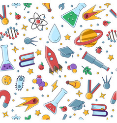 science flat seamless pattern with scientific vector image