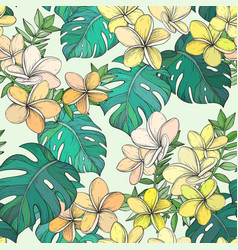 seamless pattern with tropical leaves and vector image