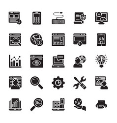 seo and web optimization glyph icons 2 vector image