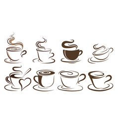 Set cups coffee collection stylized vector