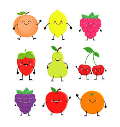 set of cute cartoon fruit lemon orange apple vector image