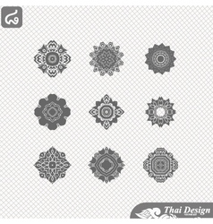 Set of Line thai art design vector