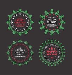 Set of Merry Christmas Postcard Decorative vector image