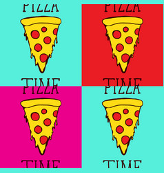 Set pizza slice pop art style andy warhol style vector