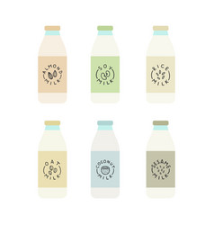 set plant based milk bottles vector image