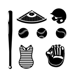 set silhouette professional baseball game vector image