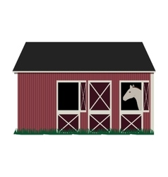 silhouette colorful with barn and horse vector image