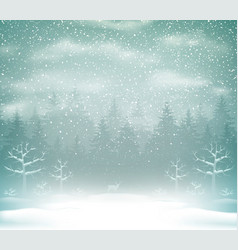 Snowfall in the winter forest landscape vector