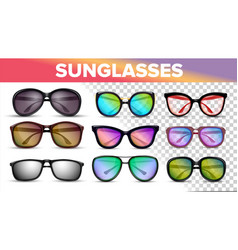 Sunglasses various styles and types 3d set vector