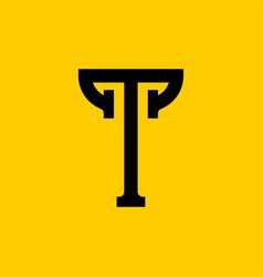 T letter old russian font national folk alphabet vector
