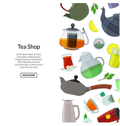 tea kettles and cups background with place vector image