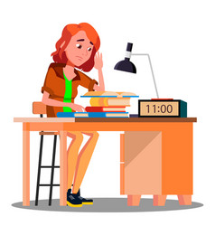 tired girl at the table with lamp and book vector image