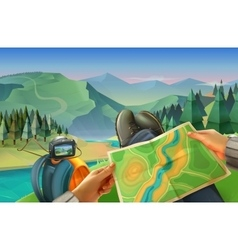 Traveler with a map vector