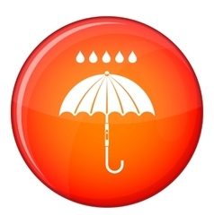 Umbrella and rain drops icon flat style vector image
