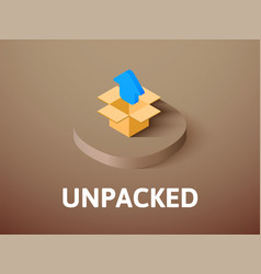 Unpacked isometric icon isolated on color vector