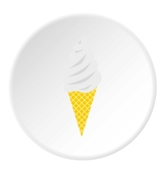 Vanilla ice cream in waffle cone icon flat style vector