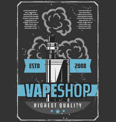 Vape shop e-cigarette advertisement retro poster vector