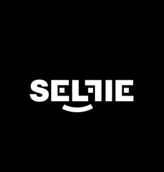 white logo selfi on a black background vector image
