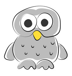 white owl on white background vector image