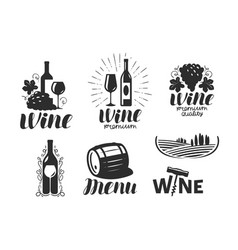 Wine winery logo drink alcoholic beverage vector