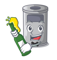 With beer cartoon steel trash can in the office vector